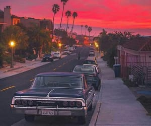 sunset, california, and car image