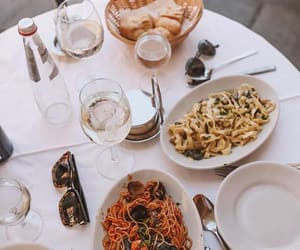 food, pasta, and wine image