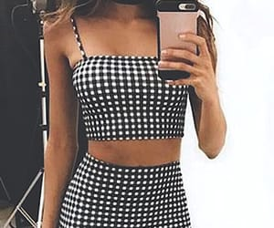 black and white, outfits, and two piece image