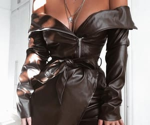 dress, fashionista, and leather image