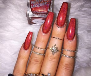 glitter, long nails, and manicure image