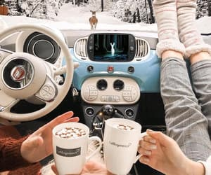 winter, hot chocolate, and car image