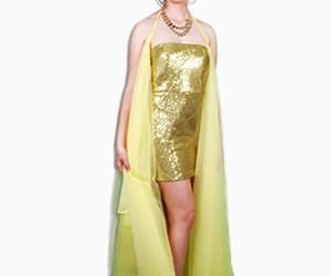 golden sequence dress and dress with tulle drape image
