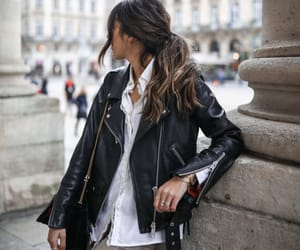 blogger, fashion, and leather jacket image