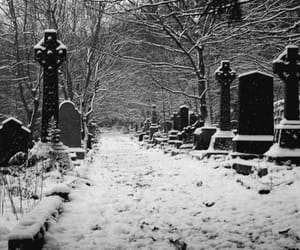 cemetery, snow, and winter cemetery image