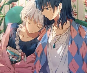 anime, couple, and howl's moving castle image