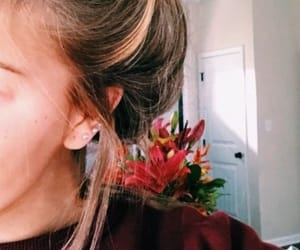 earrings, messy bun, and pinterest image