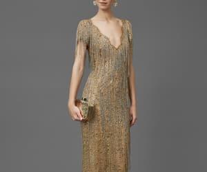 dress, gold, and fringe image
