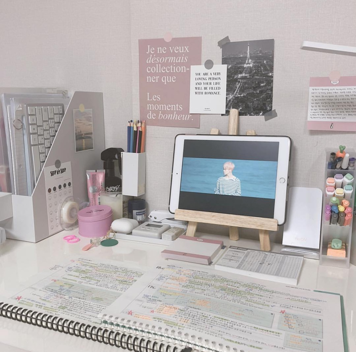 notebook, pink, and school image