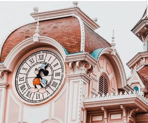 clock, pink, and disney image