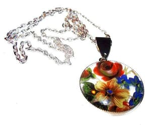chain necklace, etsy, and flower design image