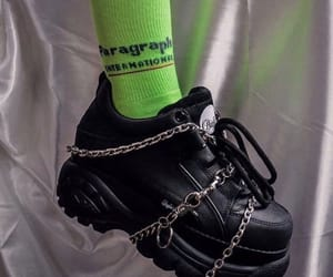 black, green, and chains image