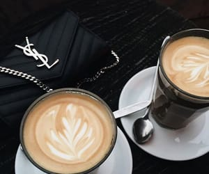 coffee, YSL, and black image