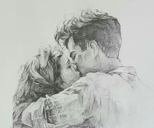 art, sketch, and love image
