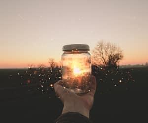 light, jar, and sun image