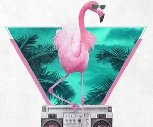 art, flamingo, and flowers image