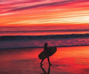 beach, orange, and sunset image