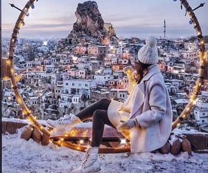 girl, winter, and city image