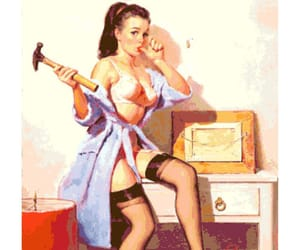 blue heels, lingerie, and pin-up image