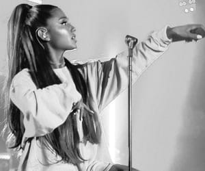 black and white, performing, and ariana grande image