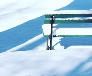 bench, snow, and winter image