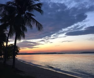 beach, horizon, and purple image