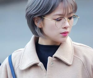 glasses, grey hair, and kpop image