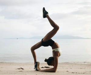 beach, girl, and yoga image