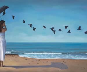 art, birds, and horizon image