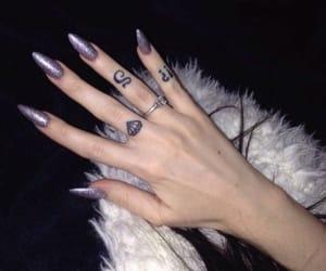 nails, tattoo, and purple image