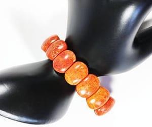 red orange, boho style, and stretch bracelet image