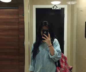 bathroom, black hair, and mirrors image