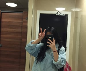 bathroom, iphone, and black hair image