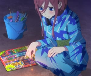 anime, anime girl, and fireworks image