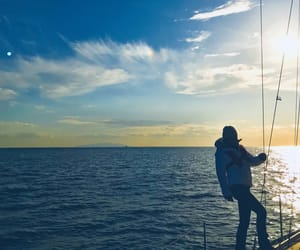 ocean, sailing, and sunset image