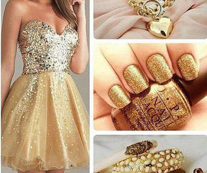 dress, gold, and nails image