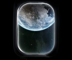 space, earth, and window image