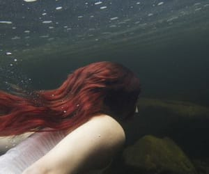girl, red hair, and water image