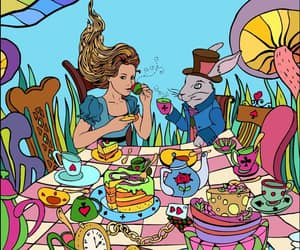 alice in wonderland, banquet, and colorful image