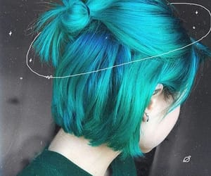bob cut, colored hair, and turquoise image
