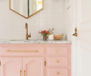 bathroom, interior, and pink image
