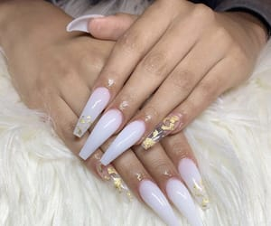 nails, acrylic, and gold image