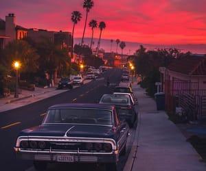 california, sunset, and car image