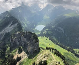 green, nature, and mountain image