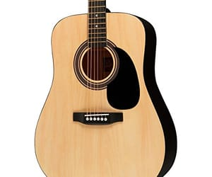 fender acoustic guitar, crescent acoustic guitar, and donner acoustic guitar image