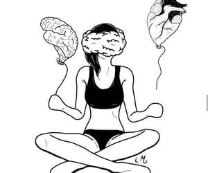 art, black and white, and brain image