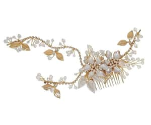 bridal hair accessories, wedding hair comb, and gold hair comb image