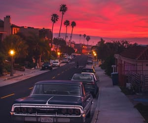 california, sunset, and car image