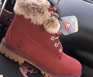 boot, fur, and maroon image