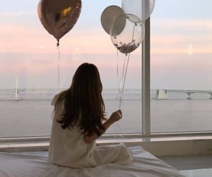 aesthetic, girl, and balloons image